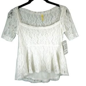 Free People Ivory Floral Gelato Top Blouse XS